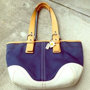 Navy Blue, White and Tan Coach Shoulderbag